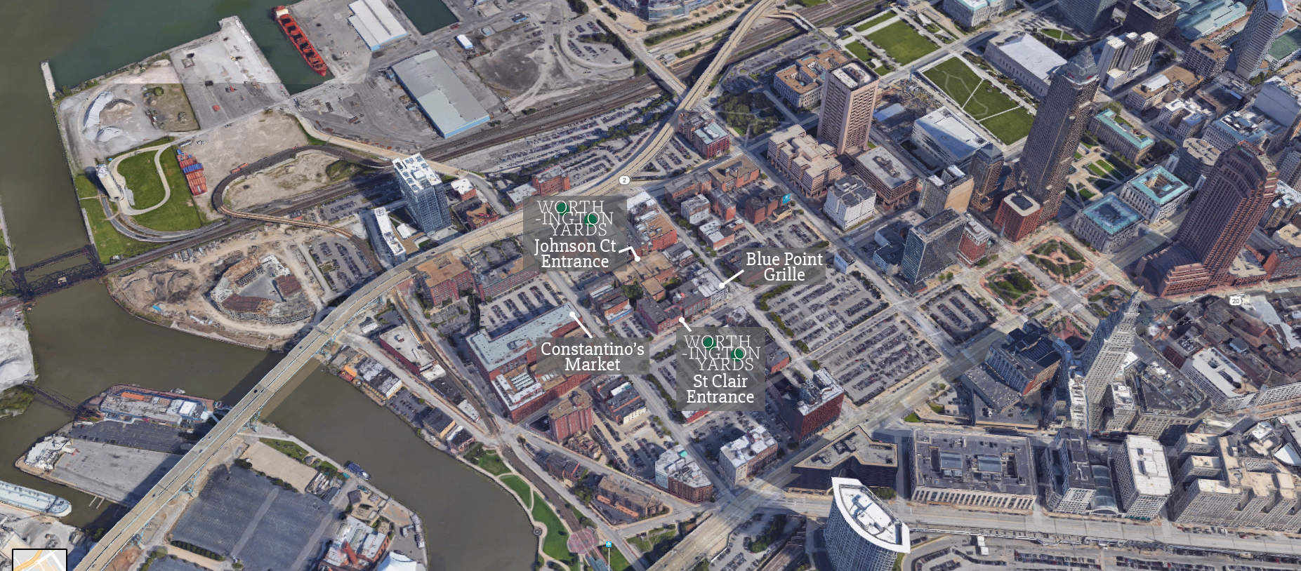 Worthington Yards is located in downtown Cleveland near Blue Point Grille, Cleveland Chop and several other fine restaurants.